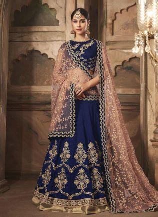 Terrific Bridal lehenga choli in navy blue with heavy work