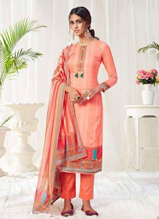 Adorable Peach Color Salwar Kameez With Pant Style Suit