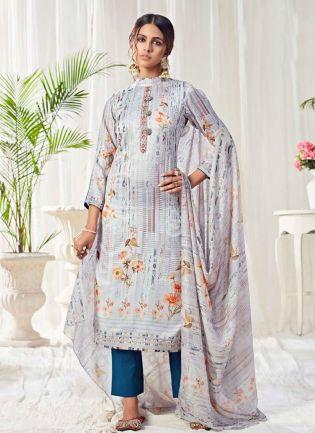 Graceful Grey Color Salwar Kameez With Pant Style Suit
