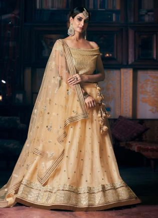 Beige Color Soft Net Base With Sequins Work Designer Lehenga With Heavy Work Choli