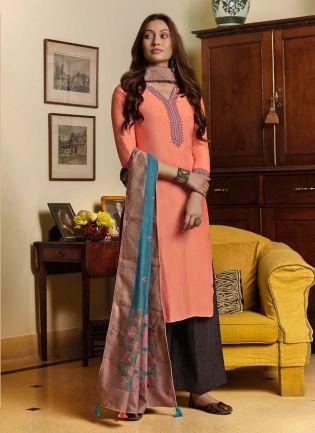 Peach Color Cotton Fabric Resham Work Palazzo Salwar Suit With Dupatta