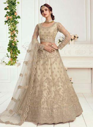 Gorgeous Sage Grey Soft Net Base Lehenga Choli