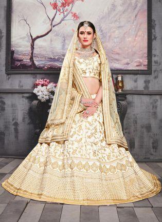 White Resham Zari Silk Soft Net Lehenga Choli