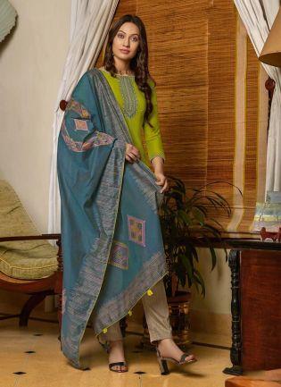 Cotton Fabric Yellow Green Color Resham Work Pant Style Salwar Kameez