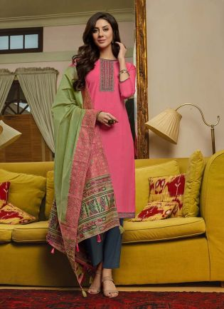 Pink Color Cotton Fabric Resham Work Pant Style Salwar Suit With Dupatta
