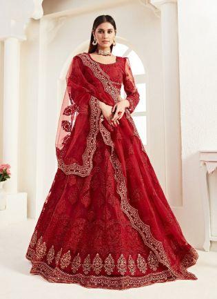 Enticing Red Color Soft Net Base Lehenga Choli