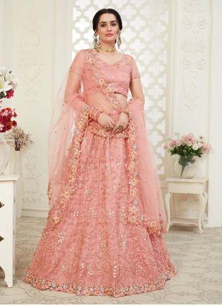 Admirable Pastel Pink Color Soft Net Base Lehenga Choli