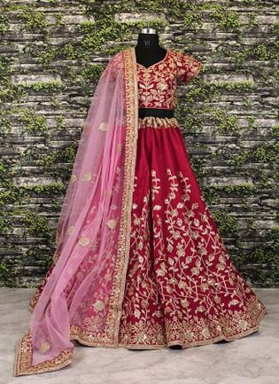 Maroon Banglory Silk Lehenga Choli with Applique Embroidery work.