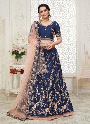 Tremendous Navy Blue Color Silk Base Lehenga Choli