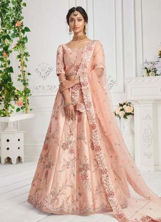 Charming Peach Color Silk Base Lehenga Choli