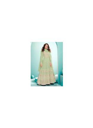 Elegant Pastel Green Color Georgette Base Gown