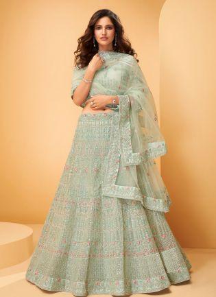 Glacial Green Color Soft Net Base Heavy Work Designer Bridal Wear Lehenga Choli