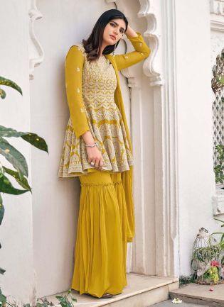 Fancy Look Mustard Green Color Georgette Base Party Wear Sharara Suit