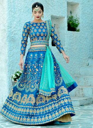 Blue Pearl Moti Resham Silk Soft Net Lehenga Choli
