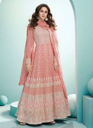 Glorious Pastel Pink Color Georgette Base Gown