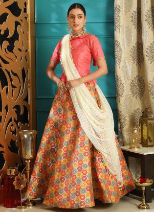 Pink Sequins Silk And Georgette Lehenga Choli