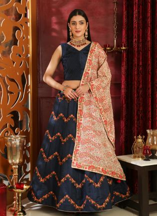 Blue Foil Print Silk And Soft Net Lehenga Choli