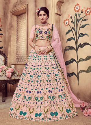 Pink Zari Sequins And Soft Net Silk Lehenga Choli
