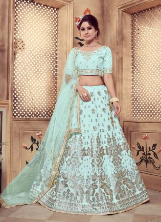 Blue Zari Sequins Foil Print And Soft Net Silk Lehenga Choli