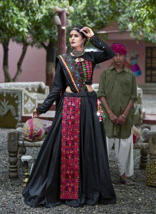 Traditional Black Color Designer Cotton Base Chaniya Choli