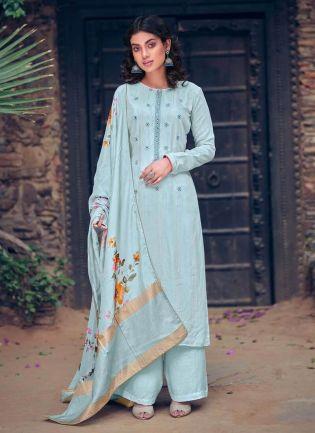 Sky Blue Color Art Silk Base Designer Palazzo Suit With Printed Dupatta