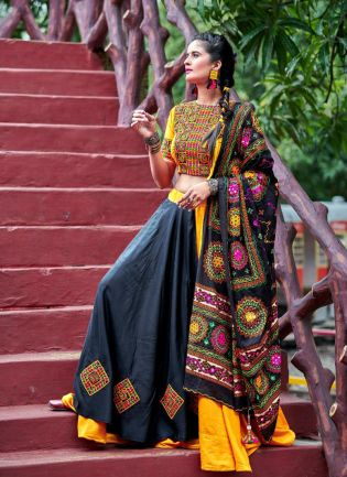 Combination Of Yellow And Black Color Traditional Touch Lehenga Choli