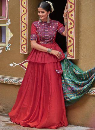 Maroon Silk Base Designer Fashionable Chaniya Choli