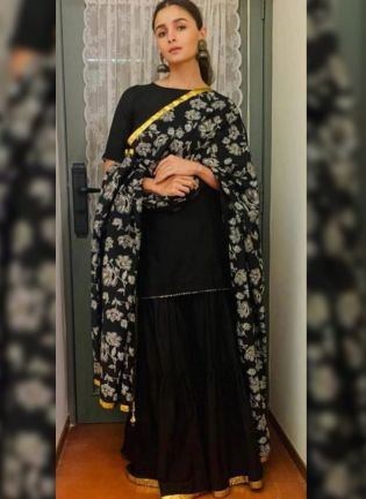 Black Digital Print Crepe Casual Sharara Suit