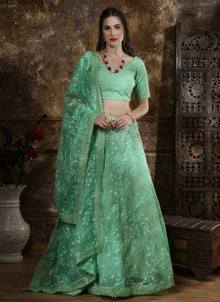 Green Resham Zari And Organza Silk Lehenga Choli