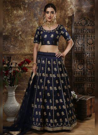 Blue Dori Mirror And Lace Silk Soft Net Lehenga Choli