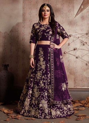Purple Dori Work Velvet Lehenga Choli And Dupatta Set