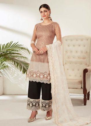 Soft Net Base Light Beige Color Sequins And Dori Work Pant Style Suit