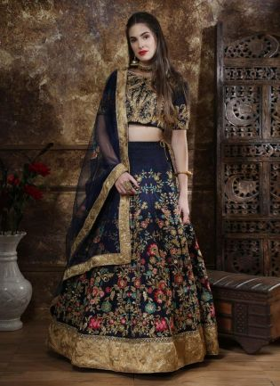 Navy Blue Color Taffeta Silk Fabric Lehenga Choli With Heavy Work