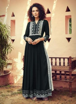 Entrancing Black Color Cotton Base Lucknowi Work Straight Suit With Palazzo