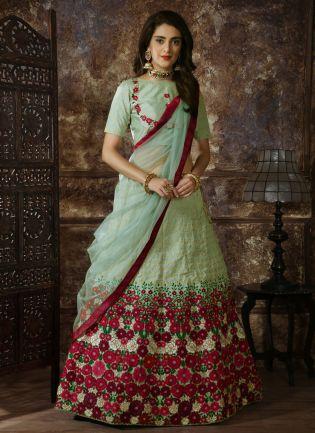 Green Resham And Zari And Silk Soft Net Lehenga Choli