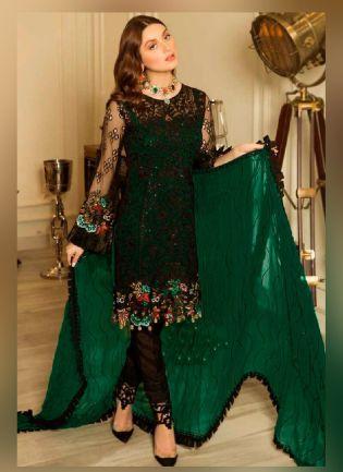 Appealing Dark Green color With Butterfly Net Base Salwar Kameez