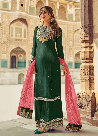 Confounding Green Color With Georgette Fabric Salwar Kameez