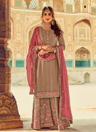 Appealing Brown Color With Georgette Fabric Salwar Kameez