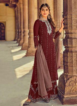 Confounding Brown Color With Georgette Base Salwar Kameez