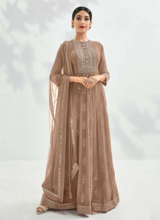 Beige Color Georgette Fabric Sequins And Zari Work Designer Gown
