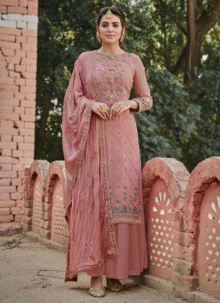 Beautiful Pastel Pink Color Georgette Base Palazzo Salwar Suit