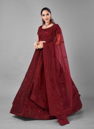 Eye-Captivating Red Color Soft Net Base With Heavy Work Bridal Wear Lehenga Choli