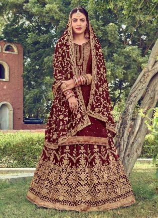 Maroon Color Heavy Work Art Silk Fabric Long Choli Lehenga