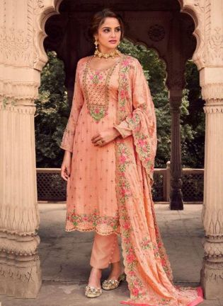 Georgette Base Stone And Resham Work Peach Color Pant Style Suit