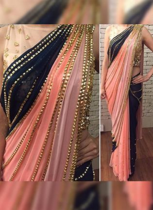 Peach Hand Work Sequin Half N Half Bollywood Party Wear Saree