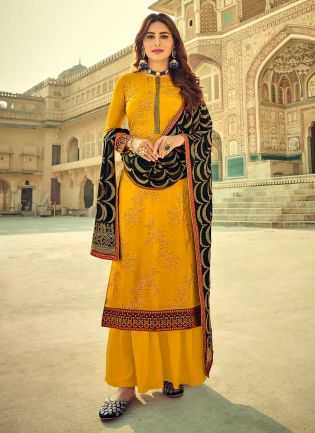 Marvelous Yellow Color With Embroidery Work Salwar Suit