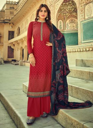Confounding Maroon Color With Embroidery Work Salwar Kameez