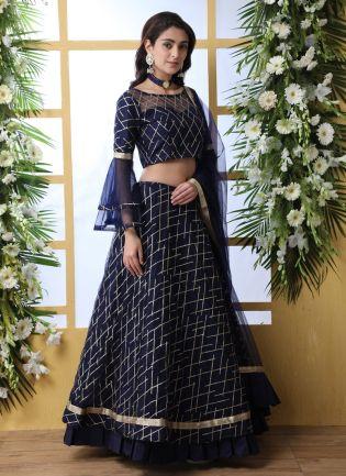 Mesmerizing Navy Blue Soft Net Bridesmaid Sangeet Lehenga Choli