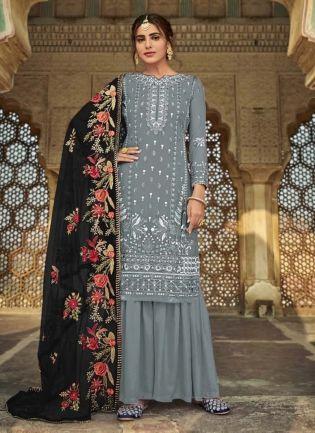 Georgette Fabric Grey Color Dori Work Sharara Salwar Suit With Dupatta