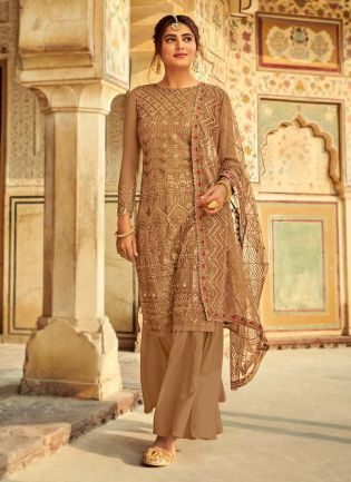 Amazing Beige Color Georgette Fabric Dori Work Sharara Salwar Suit